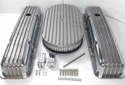 Small Block Chevy Finned Aluminum Short Valve Covers With 15