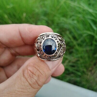 Us Military Academy West Point Rings 1972 Gold 10k Sapphire Stone Size 10