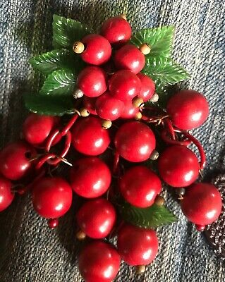 Vintage Miriam Haskell? Early Unsigned Miriam Haskell? Cherries Brooch