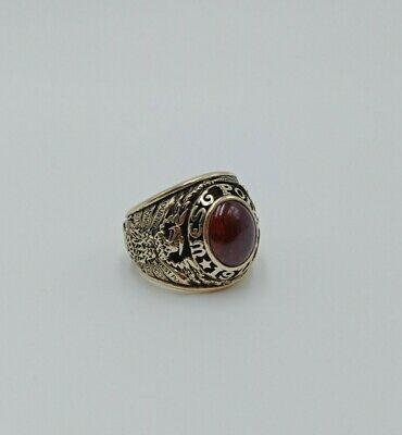 Us Military Academy West Point Rings 1977 Gold 10k Ruby Stone Size 8