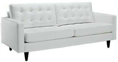 Sofa Modern Three Seater Tufted White Leatherette Off White