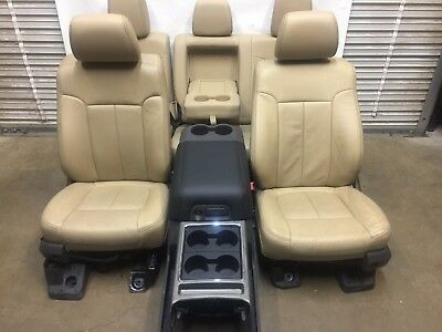 1999-2016 Ford F250 F350 Super Duty Front & Rear Seats Console Tan Leather