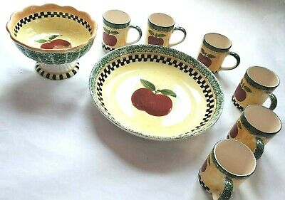 Vtg Gibson Housewares New China Antique Apple Pattern Fruit Bowl 6 Cups Platter