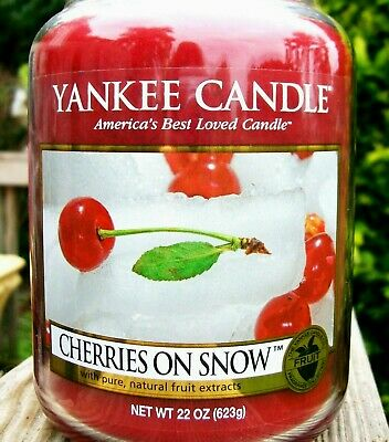 "Yankee Candle Retired ""cherries On Snow""~ Fruit ~ Large 22 Oz ~ White Label~ New"