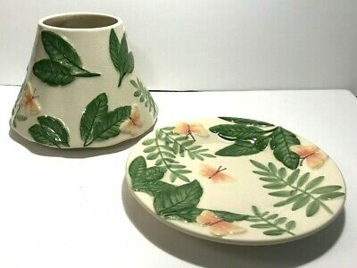 Yankee Candle Island Butterfly & Leaves Large Jar Shade & Plate Set ~ Retired