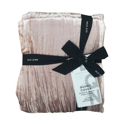 New West Elm Crinkle Velvet Queen Duvet Cover Only Blush