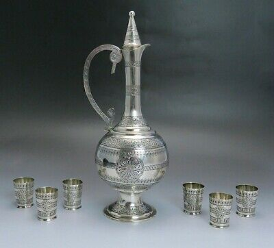 late 1800s/early 1900s fantastic turkish silver decanter / ewer