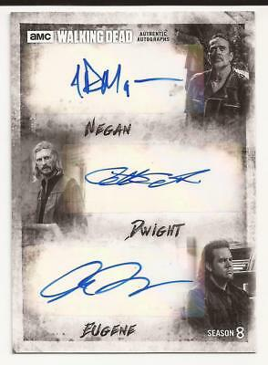 Walking Dead Season 8 Josh Mcdermitt Jeffrey Dean Morgan Triple Autograph /5