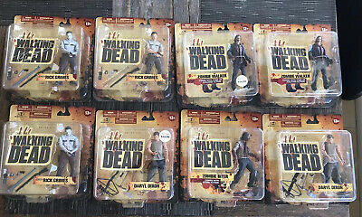 Walking Dead Tv Show Series 1 Figures Bundle Rick Grimes Black White