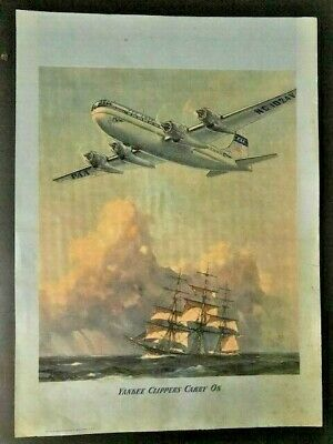 Very Rare Original Gordon Grant Pan Am Yankee Clippers Carry On Poster
