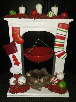 Yankee Candle Warmer Christmas Mantle Stockings Holly Ornaments Fireplace Candle