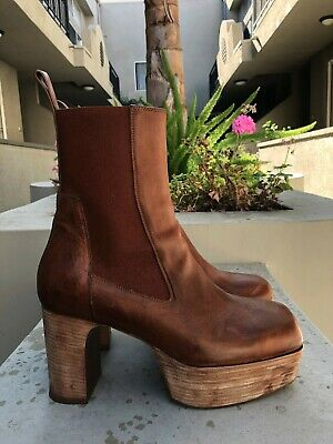 Rick Owens Mens Leather Kiss Elastic High Platformankle Boots - Size 43 / Us 10