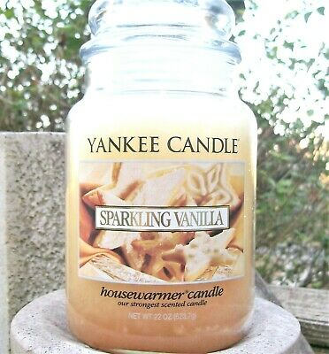 "Yankee Candle Retired ""sparkling Vanilla"" ~ Large 22 Oz ~white Label~ Rare ~ New"