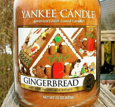 "Yankee Candle Retired ""gingerbread"" Deerfield~large 22 Oz~white Label~rare~new"