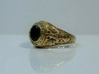 Authentic 1933 West Point Miniature Ring. 14k Gold With Bloodstone. Engraved