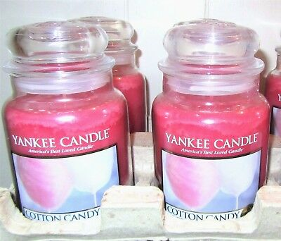 "Lot Of 4 Retired Yankee Candle ""cotton Candy""  Large 22 Oz. ~ White Label~ New!"