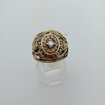 Us Military Academy West Point Rings 1959 Gold 10k Diamante Stone Size 10