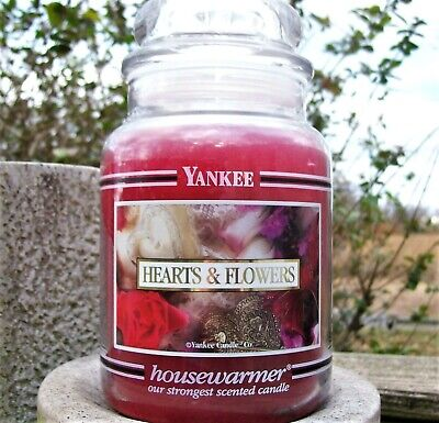 "Yankee Candle Retired Black Band ""hearts & Flowers"" Large 22 Oz~white Label~rare"