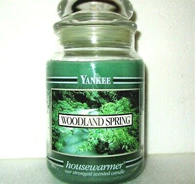 "Yankee Candle Retired Black Band ""woodland Spring"" Large 22 Oz~ White Label~rare"