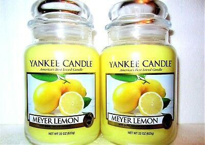 "Set Of 2 Yankee Candle ""meyer Lemon"" ~ Fruit ~ Large 22 Oz.~ White Label ~ New"