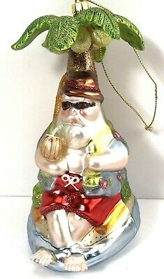 Blown Glass Ornament Santa Tropical Palm Tree Christmas Vacation Hawaiian-5""