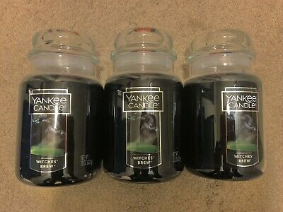 Lot Of 3 Yankee Candle Witches Brew Large Jar  Favorite Halloween Sold Out Vhtf