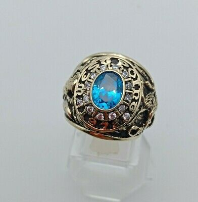 Us Military Academy West Point Rings 1972 Gold 10k Sapphire Stone Size 10.5
