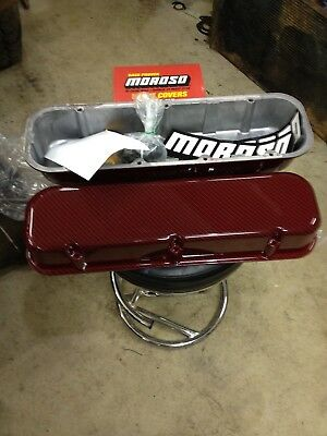 New In Box Moroso #68428 Big Block Chevy Valve Cover Red Carbon Fiber Look