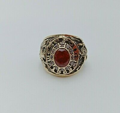 Us Military Academy West Point Rings 1969 Gold 10k Ruby Stone Size 9.5