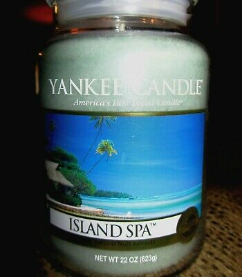"""Yankee Candle """"island Spa"""" Fresh Scented Large 22 Oz. White Label~ New!"""