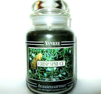 "Yankee Candle Retired Black Band ""crisp Spruce"" Large 22 Oz~white Label~rare~new"