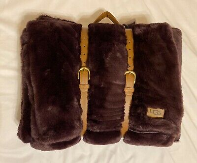 Ugg Polar Throw And Pillow Set In Port Color Carry Handle 2-piece Set 50x70 New