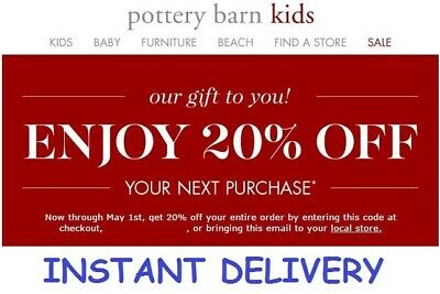 Pottery Barn Kids 20% Off Coupon Pb Kids ***instant Delivery***