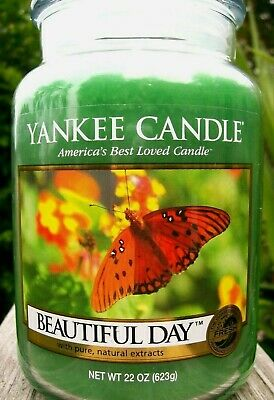 "Yankee Candle Retired ""beautiful Day""~fresh~ Large 22 Oz.~white Label~ Rare~ New"