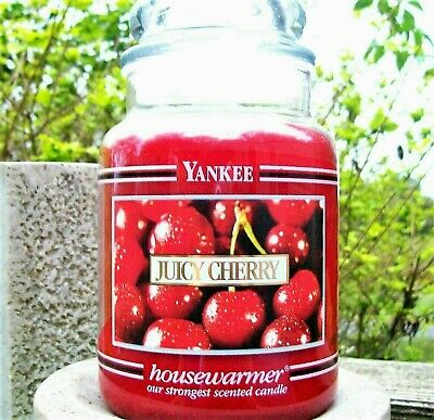 """Yankee Candle Retired Black Band """"juicy Cherry"""" Large 22 Oz~white Label~rare~new"""