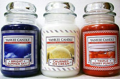 Set Of 3 Yankee Candle 22 Oz~ Berry Punch~churned Ice Cream~bright Summer Sky