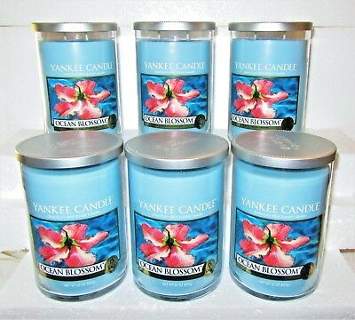 """Set Of 6 Yankee Candle """"ocean Blossom""""~ 2-wick ~ Large 22 Oz.~ White Label~ Rare"""