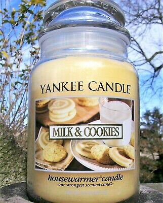 "Yankee Candle Retired ""milk & Cookies""~food~ Large 22 Oz ~white Label~ Rare ~new"