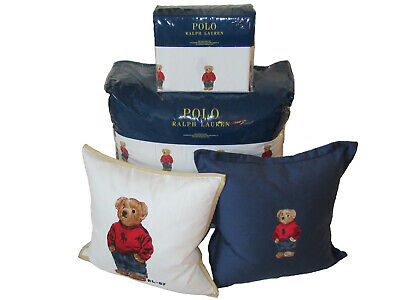 Polo Ralph Lauren Bear 9 Pc King Comforter Sheets Pillowcases Throw Pillow Set
