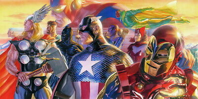 Alex Ross Rare Avengers Invincible Oversized Canvas Unframed Signed Coa