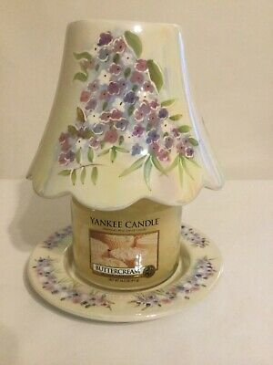 Yankee Candle Iridescent W/ Lilacs Jar Shade & Dish & Buttercream Candle