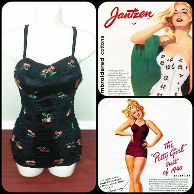 40s Vintage Bullet Emibroidered Cherries Sunsuit Swimsuit Pinup Valentines Vlv