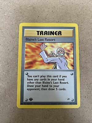 1st Edition Blaine's Last Resort 105/132 Gym Heroes Pokemon Card