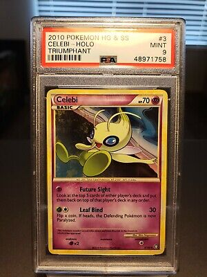 2010 Pokemon Celebi Holo PSA 9 Mint - HS Triumphant Heart Gold #3 Rare