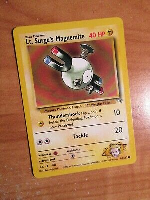 NM (Unlimited) Pokemon LT. SURGE'S MAGNEMITE Card GYM HEROES Set 80/132 COMMON
