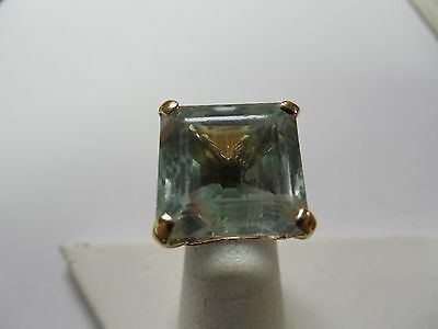 18kt Yg Ring Square Cut 21 Ct Aquamarine Very Attractive Ladies Size 7