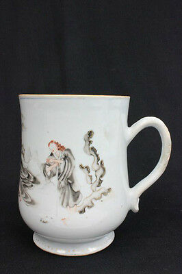 Rare 17/18c Antique Chinese Export European Scene Large Porcelain Mug 6.5""