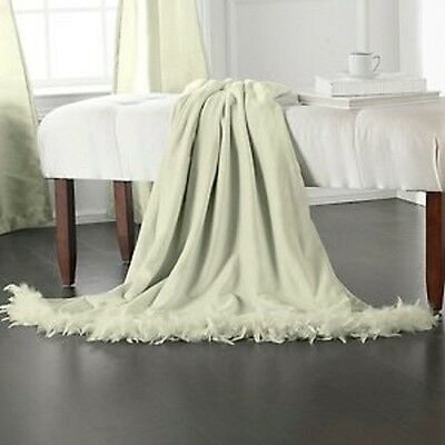 """Highgate Manor Buttery Soft Luxury Throw With Feather Trim Sage Green 50"""" X 60"""""""