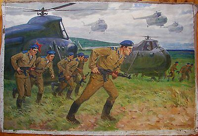 Russian Ukrainian Soviet Oil Painting Helicopter Cold War Army Realism Soldier