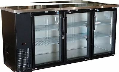 "Omcan Bb-cn-0020-g 73"" 19cf 3-door Back Bar Glass Soda Beer Bottle Cooler Fridge"